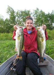 Liz catching two big largemouth bass
